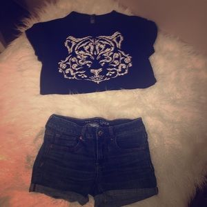 Crop top and short outfit